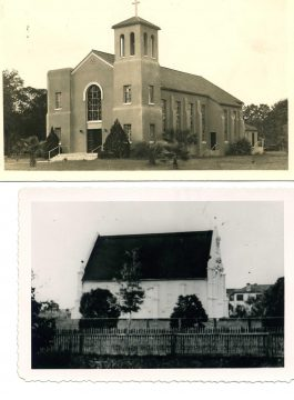 Photo of the 1887 and 1937 churches
