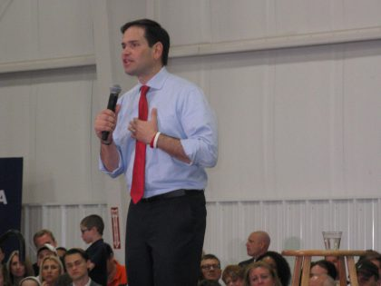 Photo of Senator Rubio speaking passionately about America.
