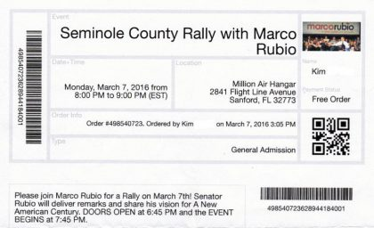 Image of a ticket to the Marco Rubio rally.