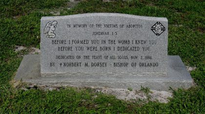 Photo of the tomb stone erected in memory of all the children who are aborted